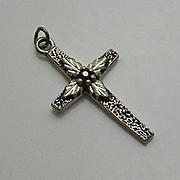 Vintage Sterling Silver Flower Cross Pendant