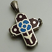 Vintage Enamel Sterling Silver Flower Cross Opens Hidden Compartment Pendant