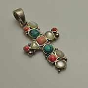 Vintage Sterling Silver Cross Turquoise Mop Pendant