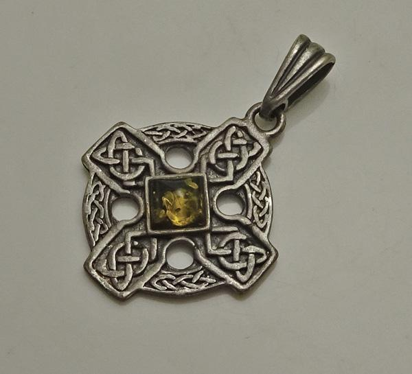 Vintage Sterling Silver Celtic Cross Green Amber