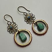 Vintage Coral Turquoise Drop Earrings
