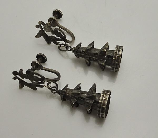 Vintage Oriental Pagoda Earrings Screw On Back JUST REDUCED!
