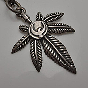 Vintage Retro Sterling Silver Marijuana Peace Dove Necklace