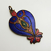 Vintage Chinese Cloisonne Love Bird Pendant