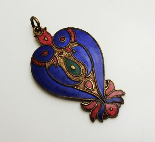 Vintage Chinese Cloisonne Love Bird Pendant