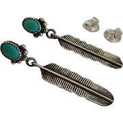 Vintage Native American Indian Turquoise Sterling Silver Feather Earrings