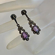 Vintage Sterling Silver Amethyst Marcasite Earrings
