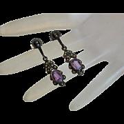 Vintage Sterling Silver Amethyst Marcasite Earrings
