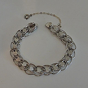 Vintage Sterling Heart Starter Charm Bracelet JUST REDUCED!