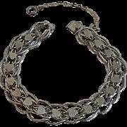 Vintage Sterling Heart Starter Charm Bracelet