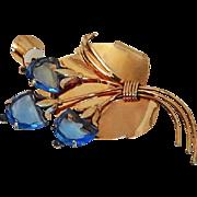 Vintage 1940s Sterling Silver Gold Wash Blue Flower Pin