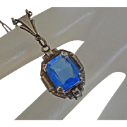 Petite Vintage Sterling Silver Art Deco Blue Glass Necklace Pendant