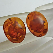 Vintage Sterling Silver Amber Button Clip On Earrings