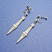 Long Vintage Art Deco Rhinestone Screw On Earrings
