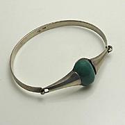 Vintage Modernist Green Stone 900 Silver Bracelet
