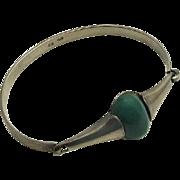 Vintage Modernist Green Stone 900 Silver Bracelet JUST REDUCED!