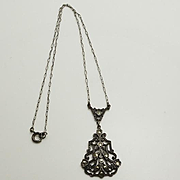 Vintage Art Deco 1930s Sterling Silver Marcasite Necklace Paper Clip Chain