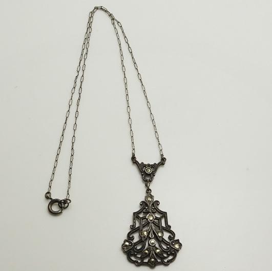 Vintage Art Deco 1930s Sterling Silver Marcasite Necklace Paper Clip Chain
