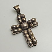 Large Vintage Mexican Cross Necklace Pendant Sterling Silver