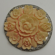 Large Vintage Celluloid Flower Pin