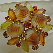 Vintage Juliana Molded Glass Pin Yellow Orange