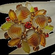 Vintage Juliana Molded Glass Pin Yellow Orange