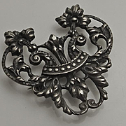 Antique Art Nouveau Sterling Silver Flower  Watch Pin Pendant