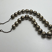 Early Mexican Sterling Silver Bead Necklace