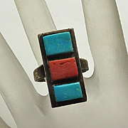 Unique Vintage Native American Indian Coral Turquoise Sterling Silver Ring