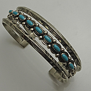 Vintage Bell Trading Company Nickel Silver Turquoise Cuff Bracelet