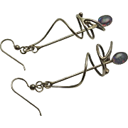 Unique Long Artisan Modernistic Sterling Silver Opal Earrings