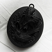 Victorian Antique Gutta Percha Bird Mourning Locket