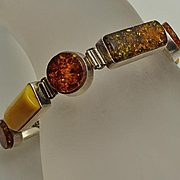 Chunky Sterling Silver Genuine Amber Bracelet