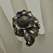 Vintage Art Nouveau Sterling Silver Turquoise Flower Ring Size 7
