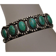 Vintage  Turquoise Native American Indian Sterling Silver Cuff Bracelet C1950s.