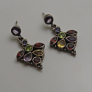 Vintage Sterling Silver Multi Gemstone Earrings  Amethyst, Peridot, Citrine Garnet