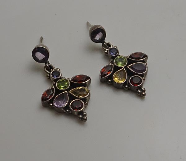 Vintage Sterling Silver Multi Gemstone Earrings  Amethyst, Peridot, Citrine Garnet