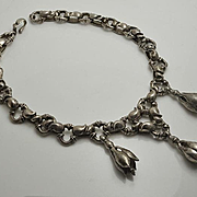Incredible Unique Vintage Massive Artisan Sterling Silver Trembler Signed Necklace
