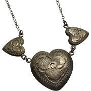 Vintage Sterling Silver Heart Pansy  Necklace Paper Clip Chain