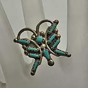 Vintage Indian Turquoise Sterling Silver Butterfly Ring