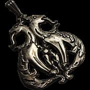 Vintage Art Nouveau Sterling Silver Double Dragon Pendant