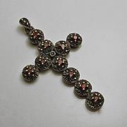 Large Sterling Silver Garnet Marcasite Cross Necklace Pendant