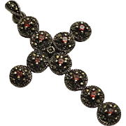 Large Sterling Silver Garnet Marcasite Cross Necklace Pendant