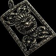 Vintage Peruzzi Sterling Silver Face Pendant