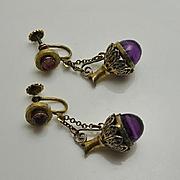 Vintage Purple Etruscan Dangling Ewer Earrings Screw Back