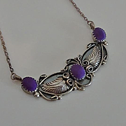 Sterling Silver Indian Purple Stone Necklace