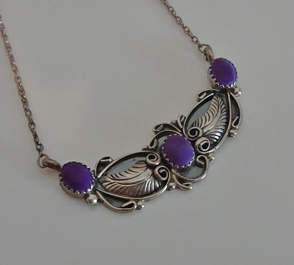 Sterling Silver Indian Purple Stone Necklace JUST REDUCED!