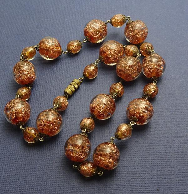Vintage Italian Goldstone Necklace