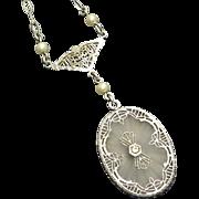 Vintage Art Deco Rhodium Filigree Camphor Glass Necklace Paper Clip Chain