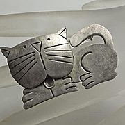 Mexican Sterling Silver Cat Pin Adorable! JUST REDUCED!